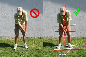 incorrect and correct pitch stance